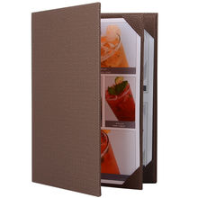 Brown PU Leather Restaurant Menu Holders Upscale Hotel Cafe Menu Covers Menu Folder Classic Style Wine List Folder Customized