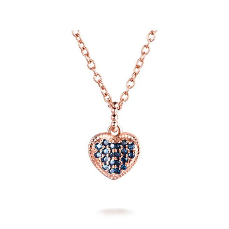 2018 18K Rose Gold Color Crystal Paved Small Heart Necklaces & Pendants Wholesale Mixed Lots For Women 1.09g