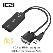ICZI VGA to HDMI Converter Adapter 1080P HD with Audio VGA HDMI AV Video Cable Converter Adapter for PC Laptop to Monitor TV