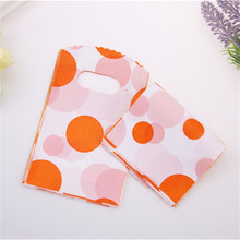 New Design High Quality Wholesale 100pcs/lot 9*15cm Orange Small Dot Pouches Favor Party Packaging Mini Gift Bags