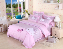 pink color hello kitty print bedding set full queen size comforter duvet covers lace bedspread girls bedroom decor cotton fabric