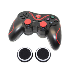 Double Shock Wireless Bluetooth V4.0 Controller Sixaxis Gamepad Joypad +4x Joystick Thumb Stick Caps For Sony PS3/PS3 Slim(China)