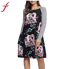 Buy Fashion Women Autumn Dress Floral Printed O-Neck Stripe Casual Knee-Length Long Sleeve Dress Women Plus Size for $9.17 in AliExpress store