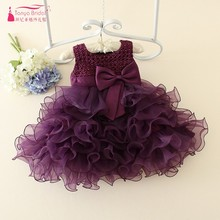 Little Girl Purple Ball Gown Flower Girl Dresses 2017 Fast Shipping Cheap Price Pearls Tiered Pageant Dress Gown