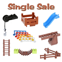 City Classic Decorate Fence Ladder Accessories Assembly Big Building Blocks Compatible with Duplo Baby Toys DIY Set Bricks Gift