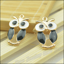6 pcs quality Champagne Gold plated Enamel Black Owl pendant charm DIY Fashion Bracelet Necklace jewelry accessories JC-494