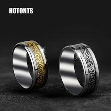 STR124 316L Stainless Steel Der Ring Des Nibelungen Dragon Rings For Lovers Retro Style Steel Ring Carbon Fiber Couple Ring(China)