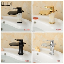Vessel sink bathroom waterfall faucet chrome oil rubbed bronze gold stone widespread spout water tap mixer