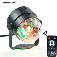 Mini 3W DJ Light RGB Color Changing Sound Actived Crystal Magic Disco Ball Led Stage Lights for KTV Xmas Wedding Party Light(China)