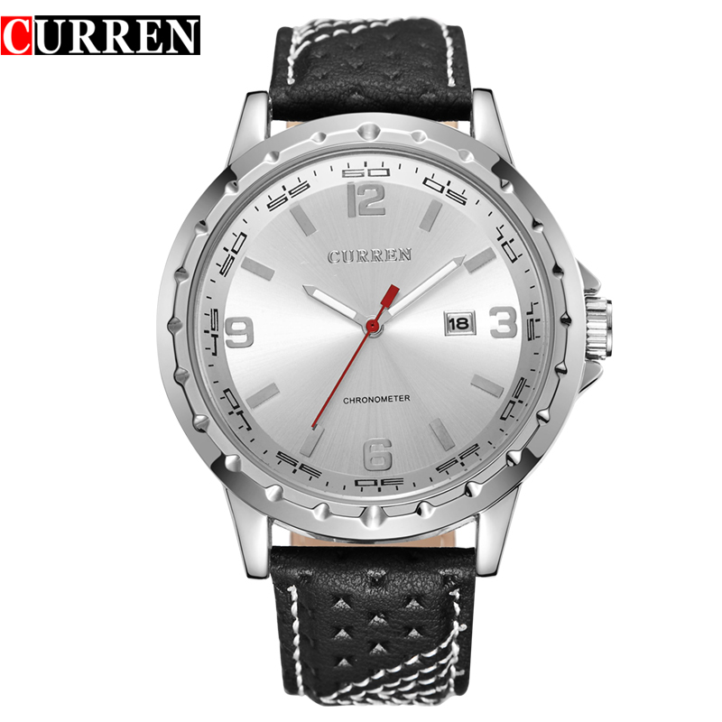 Fashion 8120 Curren Mens Round Dial Analog Watch with Date Display Leather Strap Watches Hour Quartz Dress Wristwatches<br><br>Aliexpress