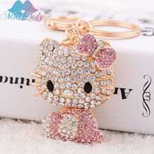 Miss Lady Miss Lady Free Shipping Hello Kitty keychain Trendy Rhinestone Beauty Cute pendant Trinket key ring Chain MLCHY959