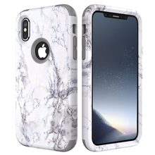 For iPhone X Phone Cases Sturdy Hard+Soft Silicone Marble Cover Heavy Duty Full Body Shockproof Shell Popular Case for iPhone X