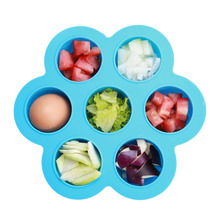 Potable 7 Grids Hole Silicone Crisper Ice Lattice Box Cover Plate Freezer Baby Food Storage Container Fresh Keeper Preservation