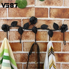 Elegant 5 Hooks Flowers Leaves Metal Door Wall Hanger Hook Robe Coat Hat Decor Rack Holder Shelf For Kitchen Bathroom