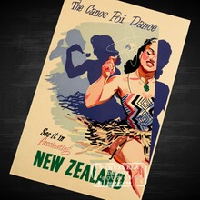 Air New Zealand: Surboard Poster Landscape NZ View Art Retro Decorative Frame Poster DIY Wall Home Posters Home Decor Gift