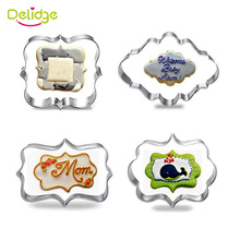 Delidge 4 pcs/lot European Frame Cookie Molds Stainless Steel Photo Frame Shape Cake Moulds Mousse Ring Baking Molds(China)