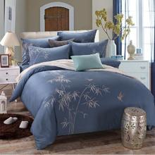 China elegant bamboo bird plant 4pcs embroidery blue home textile comforter/quilt/duvet cover bedding set Queen/King size/B3715(China)