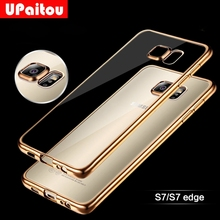UPaitou Luxury Gold Plating Soft TPU Case For Samsung Galaxy S5 S6 S7 Edge S8 Plus C5 C7 C9 Pro Note 8 5 4 3 Silicone Back Cover