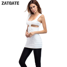 2017 New Sexy Hollow Out Front Zipper Dress Women Clubwear Cut Out Backless Striped Bandage Solid White Tank Strap Mini Dresses(China)