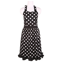 Neoviva Cotton Kitchen Apron for Hostess with Hidden Pockets, Style Betty, Polka Dots Black