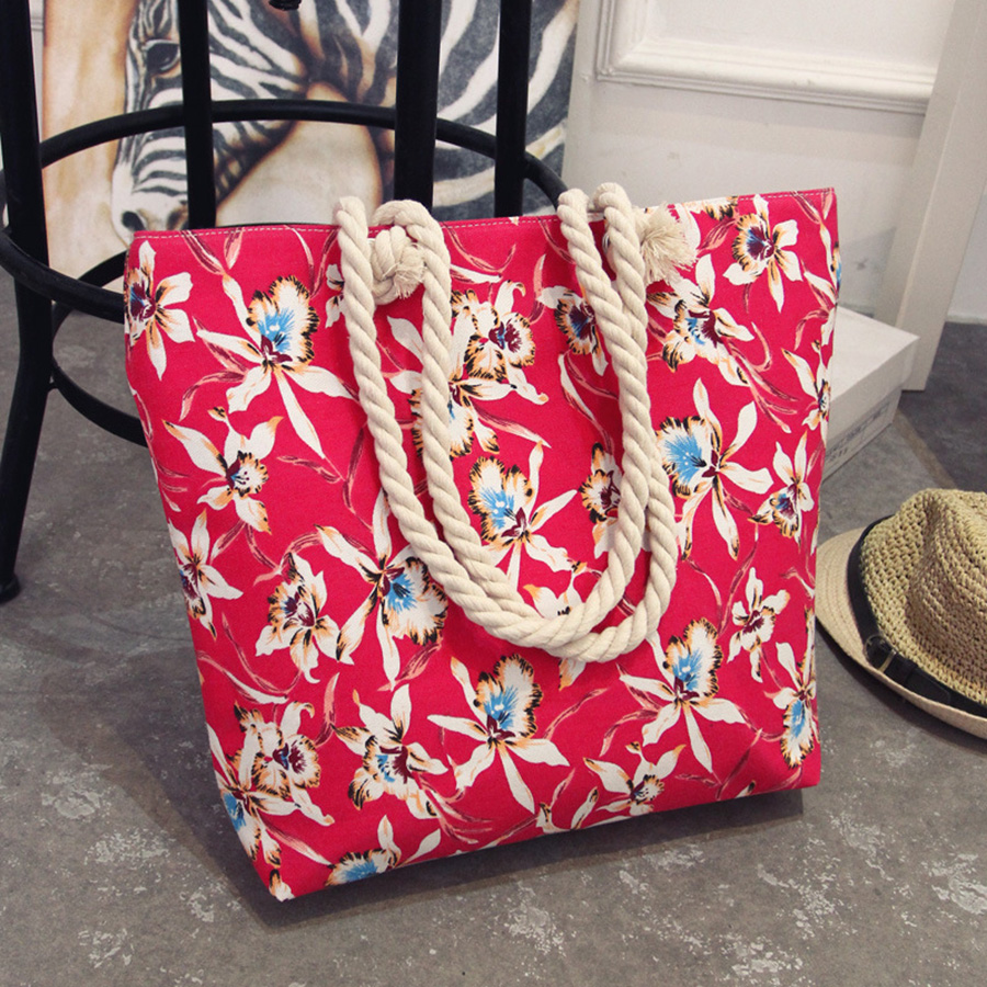 Mara's Dream 2017 Casual Women Floral Large Capacity Tote Canvas Shoulder Bag Shopping Bag Beach Bags Casual Tote Feminina 7