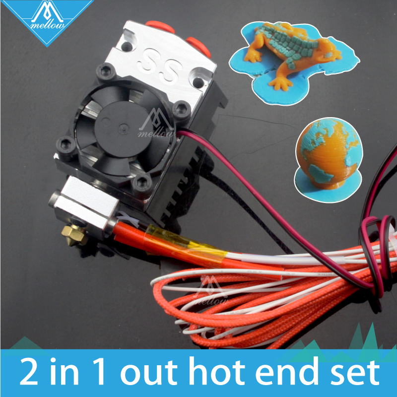 Hot!12v/24v Cyclops and Chimera Extruder 2 In 1 Out 2 colors Hotend Bowden with Titan / Bulldog Extruder for 3D Printer  I3<br>