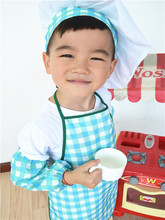 Free Shipping Brand New Kids Costume Cook Apron Costume Painting Apron Chef Hat and Apron set blue grid