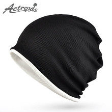 [AETRENDS] Brand 2017 Hats For Men Women New Unisex Cotton Hip Hop Ring Warm Beanie Cap Winter Autumn Knitted Beanies Z-5082