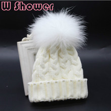 Kids Baby Girl Boy 100% Real Dyeing Raccoon Fur Pompom Winter Beanie Hat Cable Crochet Knit Mink Fur Pom Pom Ball Children Hat