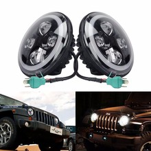 7'' LED Headlight High Low Beam 12V 24V With Angel Eyes for Jeep Wrangler 2007-2014 Harley D-avidson Motorcycles Hummer