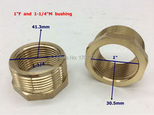 "Free Shipping 1'' female x 1-1/4""male Brass Pipe Reducing Hex Bushing Fitting Coupler, copper bushing, brass fitting,"