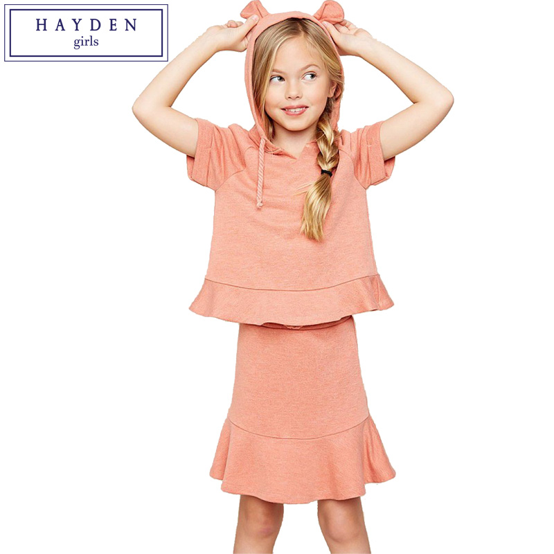 Hayden Girls Hooded Sweatshirts Skirt Set 2018 Spring Summer New Arrival Teenage Girls Clothing Set Fashion Brand Girl Clothes<br>