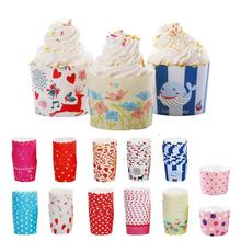 50pcs/lot 12 Patterns Mini Baking Paper Cups Wedding Birthday Party Cake Decorating Muffin Cupcake Tools 20(China)