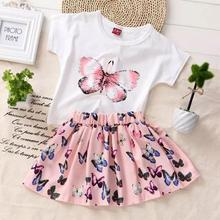 2018 Summer 2PCS set  Kids Baby Girls Toddler Butterfly Printed T-shirt and Skirt Dress Set Outfits Clothes(China)