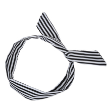 Women Striped Print Fabric Coated Wire Hair Wrap Scarf Head Band White Black