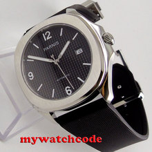 40mm Parnis black dial Sapphire glass 21 jewels Miyota 821A automatic mens watch(China)