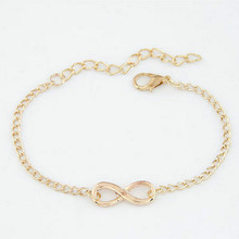 2017 New Fashion Elegant Man Gift Hand Bracelet Jewelry 8 Shape Geometric Bracelet Infinite Gold Siver Female Bracelet Wholesale(China)