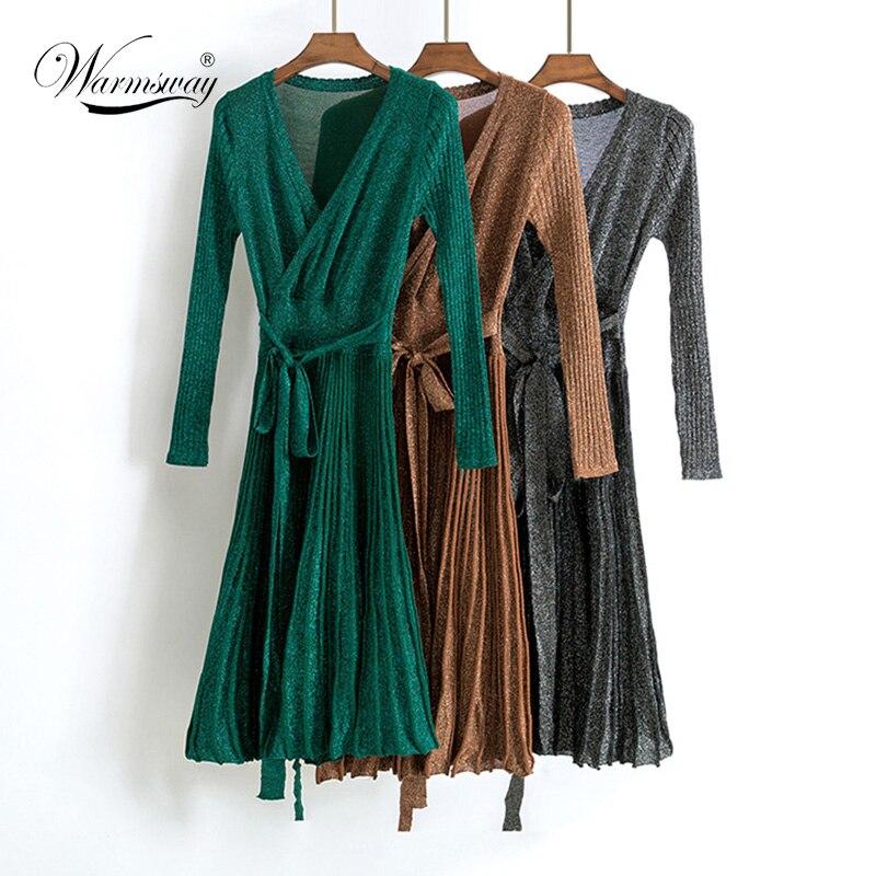 Spring Pleated Large Hem V Collar High Waist Lace Up Shiner Lurex Knitted Elastic Dress Women New Vintage Clothing C-006