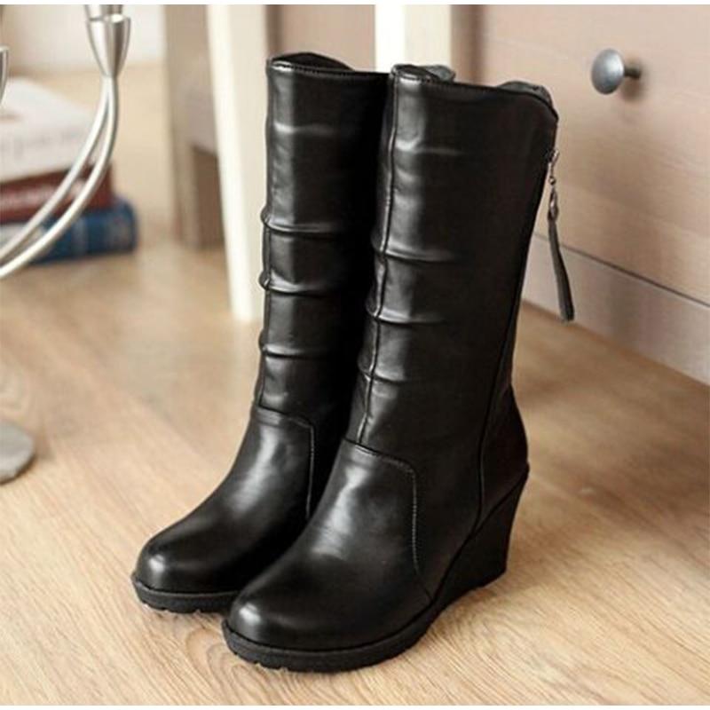 c4871e919ed Women S Wedges Heel Platform Mid Calf Boots Autumn Plus Size Fold ...