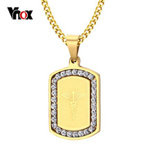 VNOX Star of Life Necklace & Pendant Gold-color Stainless Steel Medical Jewelry With CZ Stone for Women(China)