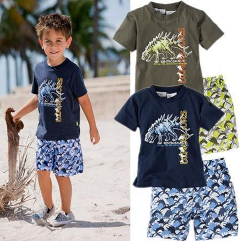 Baby Boy Clothes Summer Beach suit Kids Clothes Dinosaur Printed T-Shirt + Pants Shorts Outfit Summer Children Clothing Sets(China)