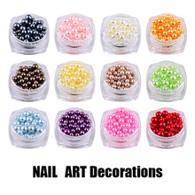 New Mix Sizes Round Colorful 3D Nail Art Pearl Decorations DIY Beauty Nail Beads 3mm 4mm 5mm Jewelry Tools Manicure 2017 Hot(China)