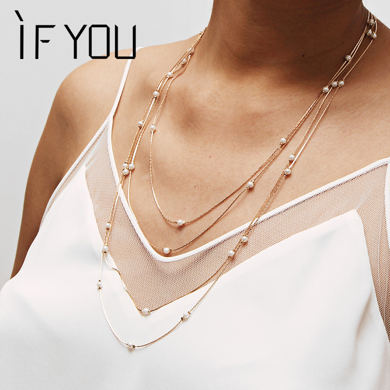 IF YOU Simple Multilayer Charm Simulated Pearl Necklace For Women Vintage Beads Choker Necklaces Wedding Party Jewelry 2019 New(China)