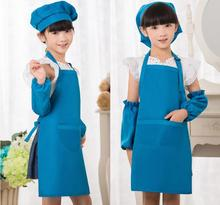 2017Polyester Kids Apron and Chef Hat Child Cooking Baby Apron Avental de Cozinha Divertido Child Aprons Tablier Enfant Delantal