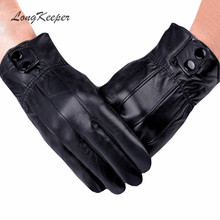 LongKeeper Genuine Leather Gloves Black Full Finger Glove for Men Winter Luvas Military guantes Army luvas de couro SX32(China)