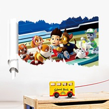 Paw Patrol Snow Slide Background Children'S Room Bedroom Wall Stickers Waterproof Removable Mural Art Home Decor