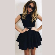 New Fashion Hot Sale Robe de Cocktail Sexy Black Satin Short Cocktail Dresses Simple Prom Homecoming Company Party Mini Dresses