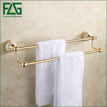 FLG Double Towel Bar Towel Holder Bathroom Space aluminum Made Gold Finished Bath Products Bathroom Accessories