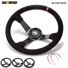"Car Racing Drift 350 mm Suede EPMAN Steering Wheel 3.5"" Deep With Horn Button AF-FXP1701R(China)"
