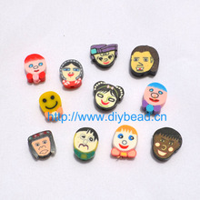 50pcs DIY Jewelry Accessories 13mm polymer clay beads Cartoon Face Round Shape Spacer mix color Bracelet Department Fimo Slices(China)